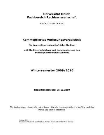 Wintersemester 09/10 - Johannes Gutenberg-Universität Mainz