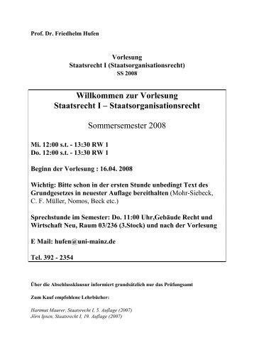 Willkommen zur Vorlesung Staatsrecht I – Staatsorganisationsrecht ...