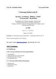 Vorlesung Kulturrecht II Sprache - Erziehung - Bildung - Schule