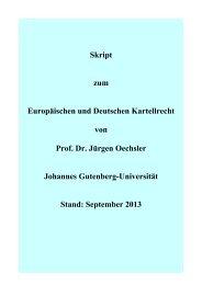 Skript zum Europäischen und Deutschen Kartellrecht von Prof. Dr ...