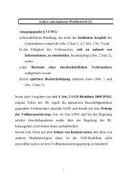Lehre vom lauteren Wettbewerb (1) Ausgangspunkt § 3 UWG: a ...