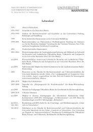 Lebenslauf - Jura - Universität Mannheim