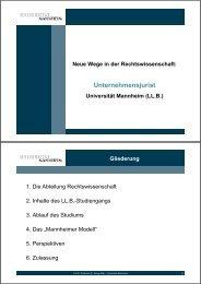 Unternehmensjurist-Vortrag - Jura - Universität Mannheim