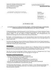 Antrag auf Anrechnung Ausland LL.B. - Jura - Universität Mannheim