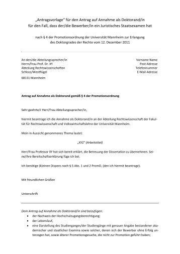 """""""Antragsvorlage"""" für den Antrag auf Annahme als Doktorand ... - Jura"""