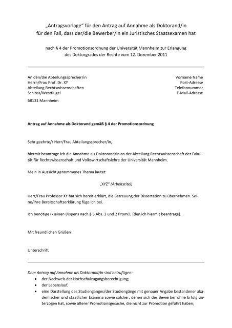âžantragsvorlage✠Fã¼r Den Antrag Auf Annahme Als Doktorand