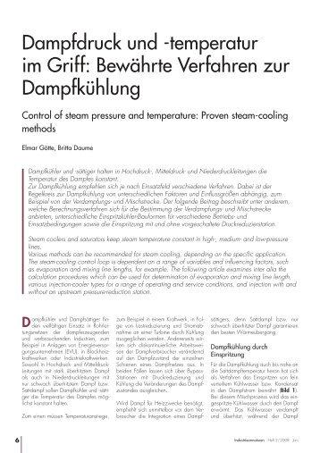 Dampfdruck und -temperatur im Griff: Bewährte Verfahren zur ...