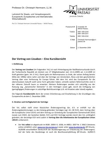 Der Vertrag von Lissabon – Eine Kurzübersicht - Universität Passau