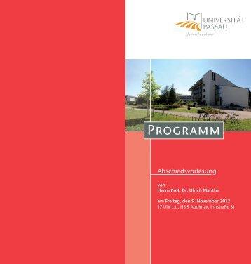 Programm der Abschiedsvorlesung zum Download - Juristische ...