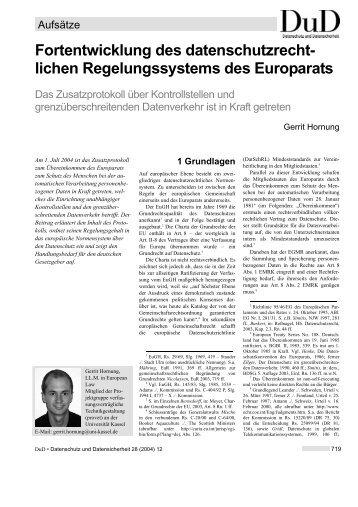 Fortentwicklung des datenschutzrechtlichen Regelungssystems des ...