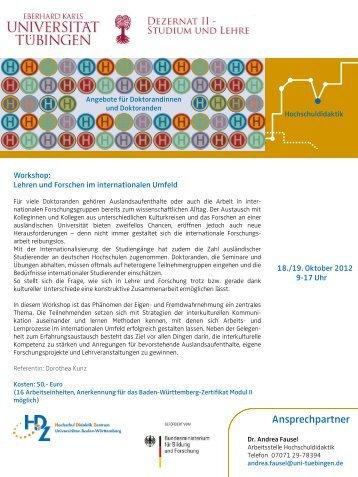 Lehren und Forschen im internationalen Umfeld - Universität Tübingen