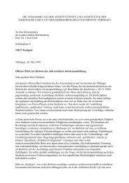 Offener Brief an den Landesjustizminister vom 20. 5. 1999