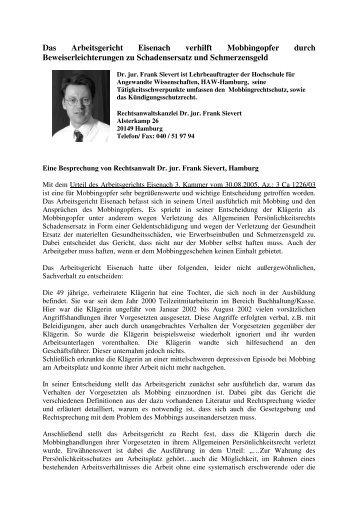 Beweiserleichterung in Mobbingprozessen 2 - Jurawelt