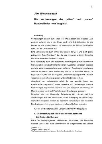 """und """"neuen"""" Bundesländer - ein Vergleich - Jurawelt"""
