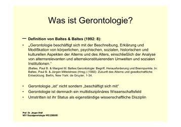 Was ist Gerontologie? - Jurgenwolf.de