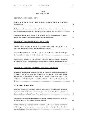 INDICE PODER EJECUTIVO SECRETARIA DE GOBERNACION ...