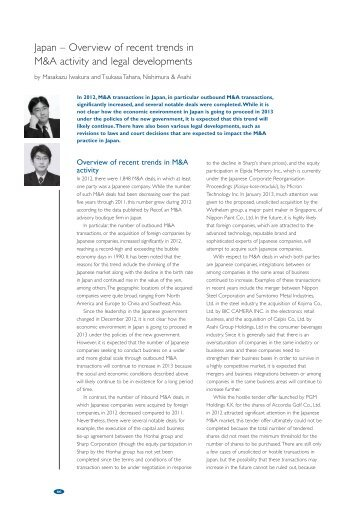 Overview of recent trends in M&A activity and legal developments