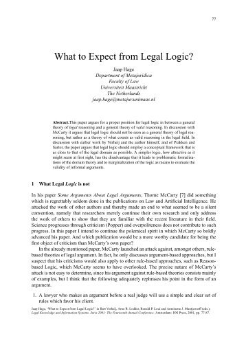 What to Expect from Legal Logic? - CiteSeerX