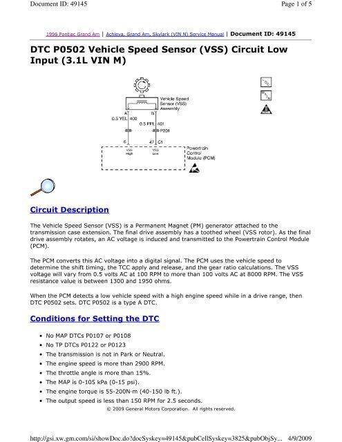 dtc p0502 vehicle speed sensor (vss) circuit low justanswerOutput Speed Sensor Circuit Malfunction Http Wwwjustanswercom #3