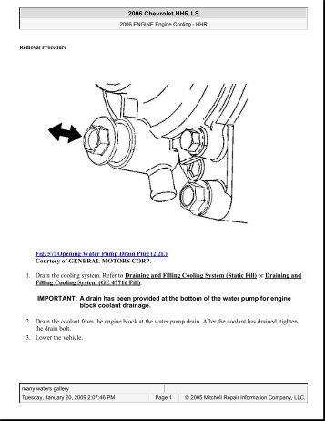 Fig. 57: Opening Water Pump Drain Plug - JustAnswer