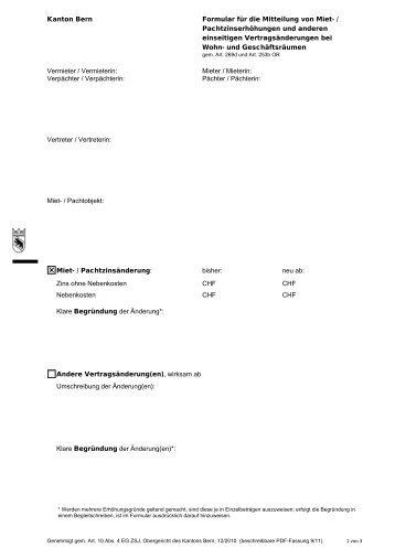 Kanton Bern Formular Für Die Mitteilung Von Miet