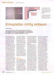 Klimaplatten richtig einbauen / Bericht der Fachzeitschrift ausbau+ ...