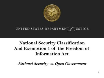 National Security Classification And Exemption 1 of the Freedom of ...
