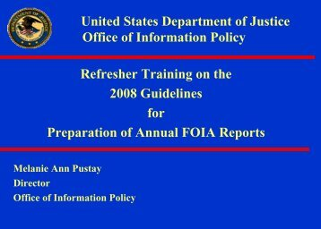 Refresher Training on the 2008 Guidelines for Preparation of Annual ...