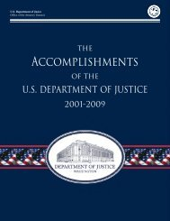 The Accomplishments of the Department of Justice 2001-2009