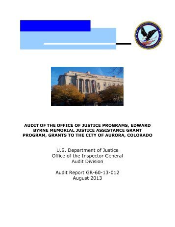 Memorial Justice Assistance Grant Program, Grants to the City of ...