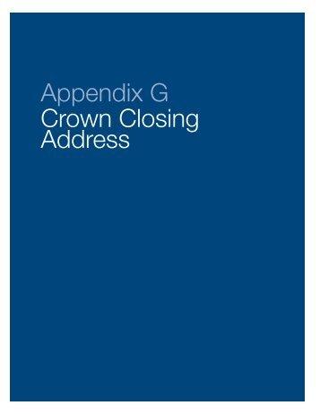 Appendix G Crown Closing Address