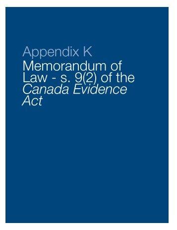 Appendix K Memorandum of Law - s. 9(2) of the Canada Evidence Act