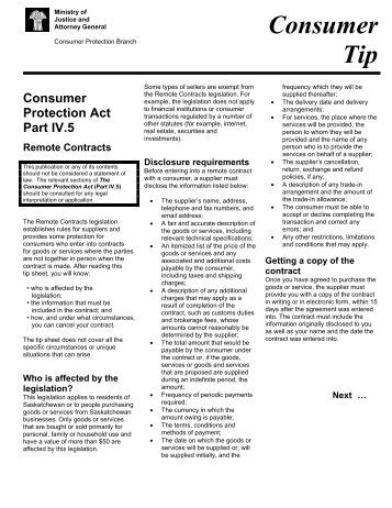 Consumer Protection Act Part IV - Ministry of Justice
