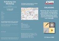 EINLADUNG Workshop über die Charakte - CSM Instruments