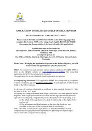 APPLICATION TO - Tasmanian Department of Justice