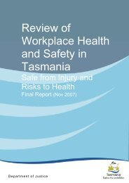 review of workplace health and safety in Tasmania - Tasmanian ...