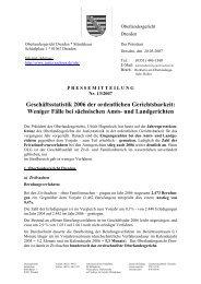 Geschäfsstatistik 2006 der ordentlichen ... - Justiz in Sachsen