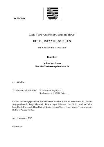 DER VERFASSUNGSGERICHTSHOF DES ... - Justiz in Sachsen