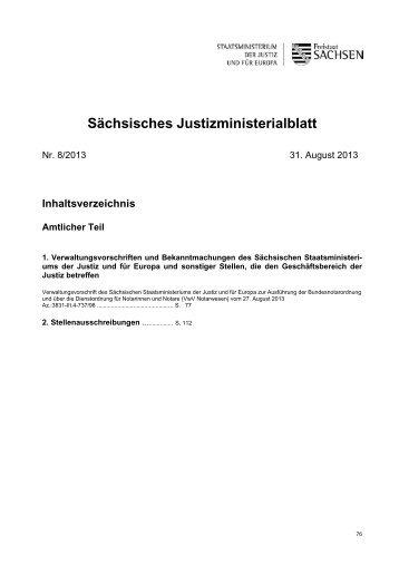 Sächsisches Justizministerialblatt - Justiz in Sachsen - Freistaat ...