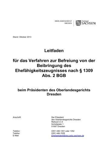 Leitfaden für das Verfahren zur Befreiung von ... - Justiz in Sachsen