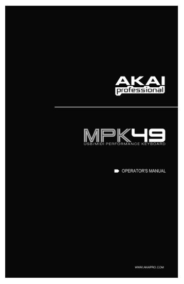 MPK49 Operator's Manual - rev1.1 - American Musical Supply