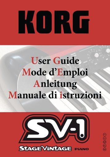KORG SV-1 1.0 User Guide (EFGI1) - Just Music