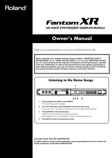 Owner's Manual - SoundProgramming