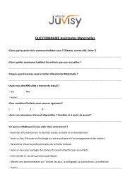 QUESTIONNAIRE Assistantes Maternelles - Ville de Juvisy-sur-Orge