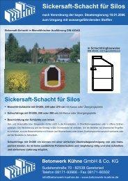 6. Sickersaft-Schacht für Silos - Betonwerk Kühne GmbH & Co. KG