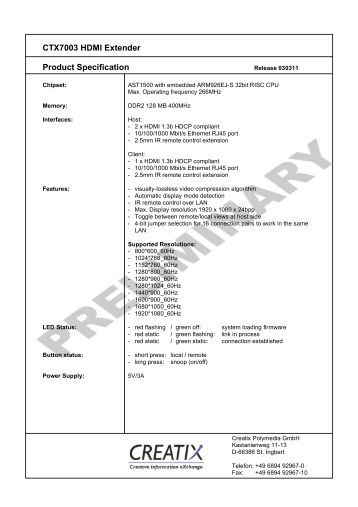 CTX7003 HDMI - CREATIX