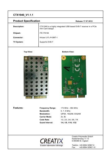 CTX1940 V1.1.1 Product Specification - CREATIX