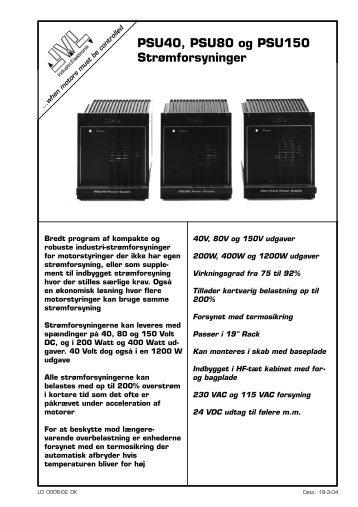 PSU40, PSU80 og PSU150 Strømforsyninger - JVL Industri