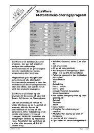 SizeWare Motordimensioneringsprogram - JVL Industri Elektronik A/S