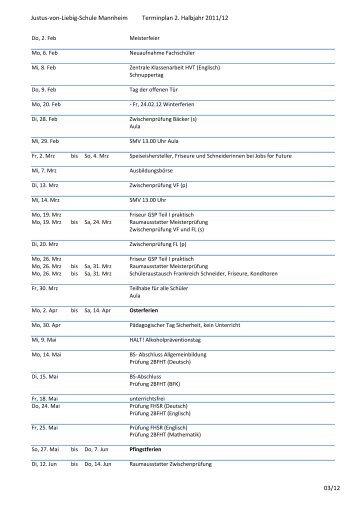 Justus-von-Liebig-Schule Mannheim Terminplan 2. Halbjahr 2011 ...